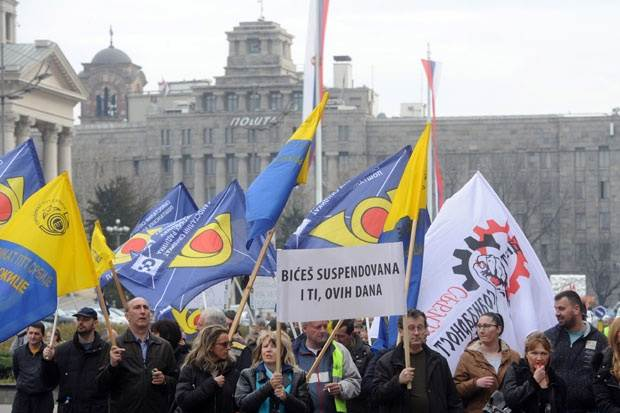 Протест поштара у центру Београда (ФОТО)