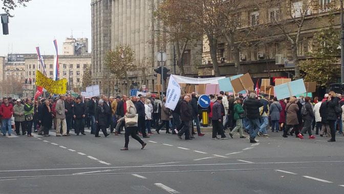 Пензионери протестовали испред Уставног суда и владе